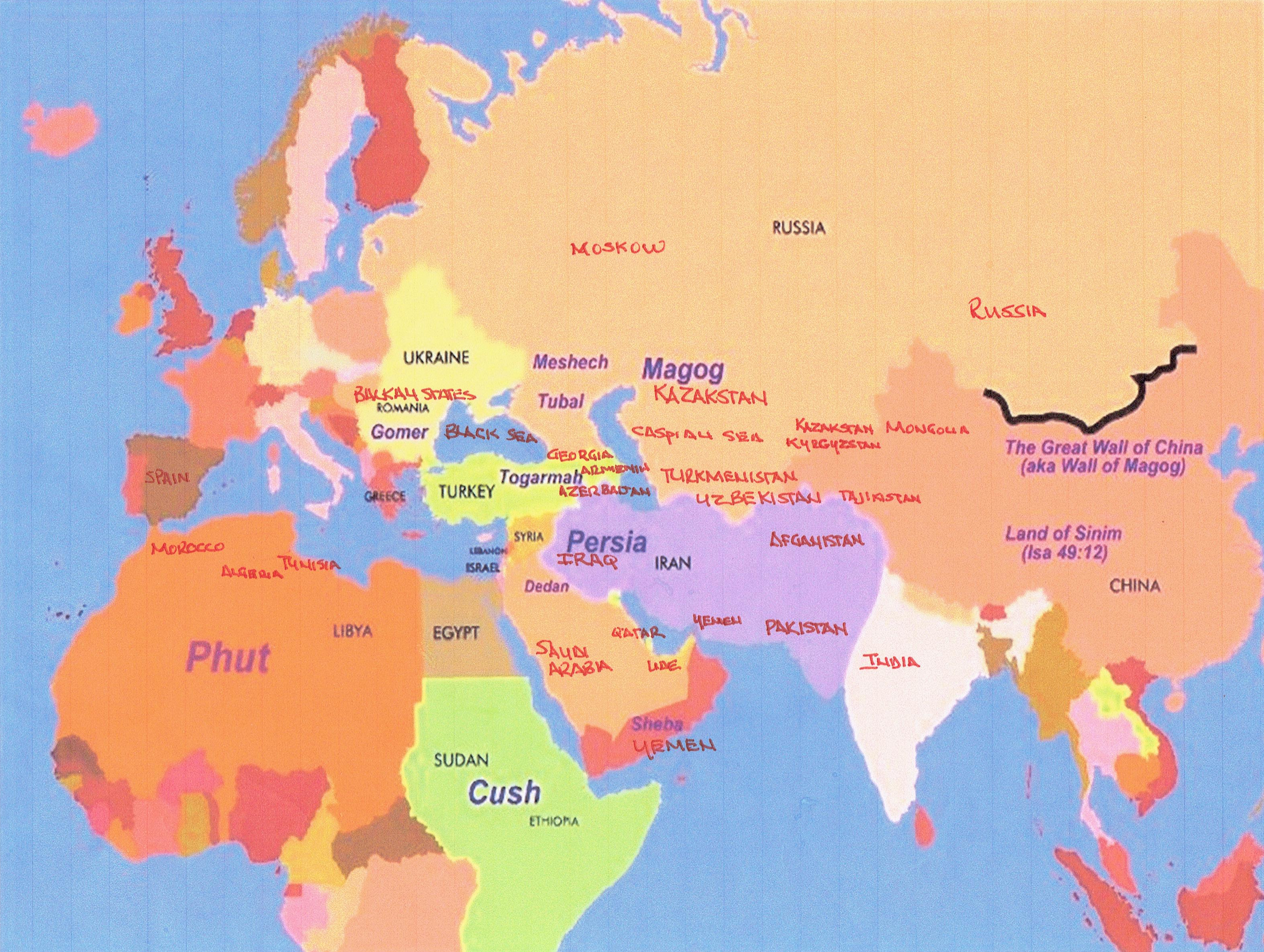 Map of Europe, Asia, Middle East, and North Africa